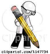 White Doctor Scientist Man Writing With Large Pencil
