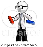 White Doctor Scientist Man Red Pill Or Blue Pill Concept