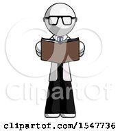Poster, Art Print Of White Doctor Scientist Man Reading Book While Standing Up Facing Viewer