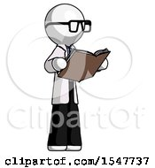 Poster, Art Print Of White Doctor Scientist Man Reading Book While Standing Up Facing Away