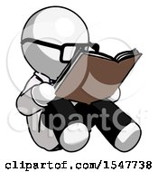 Poster, Art Print Of White Doctor Scientist Man Reading Book While Sitting Down