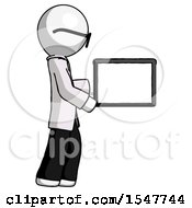 White Doctor Scientist Man Show Tablet Device Computer To Viewer Blank Area