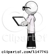 White Doctor Scientist Man Looking At Tablet Device Computer With Back To Viewer
