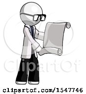 White Doctor Scientist Man Holding Blueprints Or Scroll