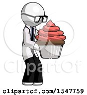 White Doctor Scientist Man Holding Large Cupcake Ready To Eat Or Serve