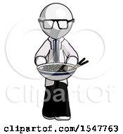 White Doctor Scientist Man Serving Or Presenting Noodles