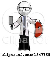 White Doctor Scientist Man Holding Large Steak With Butcher Knife