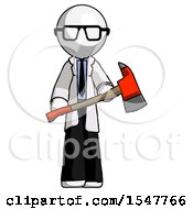 White Doctor Scientist Man Holding Red Fire Fighters Ax