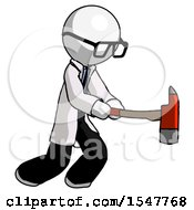 White Doctor Scientist Man With Ax Hitting Striking Or Chopping