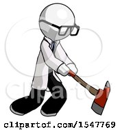 White Doctor Scientist Man Striking With A Red Firefighters Ax