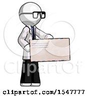 White Doctor Scientist Man Presenting Large Envelope