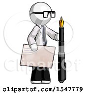White Doctor Scientist Man Holding Large Envelope And Calligraphy Pen