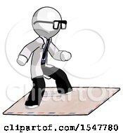 White Doctor Scientist Man On Postage Envelope Surfing