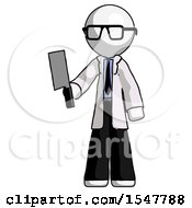 White Doctor Scientist Man Holding Meat Cleaver