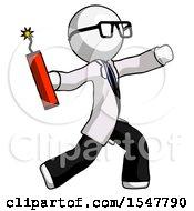 White Doctor Scientist Man Throwing Dynamite