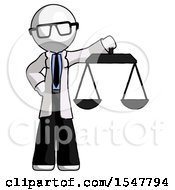 White Doctor Scientist Man Holding Scales Of Justice