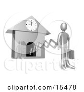 Silver Businesman In A Suit Holding A Briefcase And Sticking Out From An Arm Of A Cuckoo Clock Upon The Hour Of 9am Symbolising The Start Of A New Work Day Or Punctuality Clipart Illustration Image by 3poD