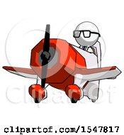 White Doctor Scientist Man Flying In Geebee Stunt Plane Viewed From Below