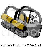 White Doctor Scientist Man Driving Amphibious Tracked Vehicle Top Angle View