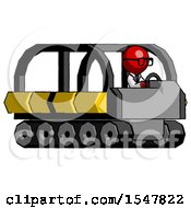 Red Doctor Scientist Man Driving Amphibious Tracked Vehicle Side Angle View
