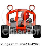 Red Doctor Scientist Man Riding Sports Buggy Front View