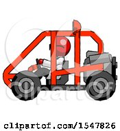 Red Doctor Scientist Man Riding Sports Buggy Side View