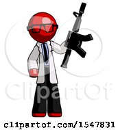 Red Doctor Scientist Man Holding Automatic Gun