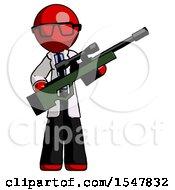 Red Doctor Scientist Man Holding Sniper Rifle Gun
