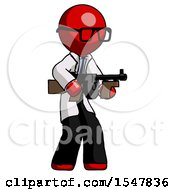 Red Doctor Scientist Man Tommy Gun Gangster Shooting Pose