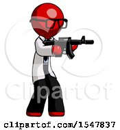 Red Doctor Scientist Man Shooting Automatic Assault Weapon