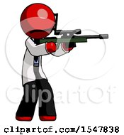 Red Doctor Scientist Man Shooting Sniper Rifle