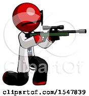 Red Doctor Scientist Man Kneeling Shooting Sniper Rifle