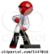 Red Doctor Scientist Man Cleaning Services Janitor Sweeping Floor With Push Broom