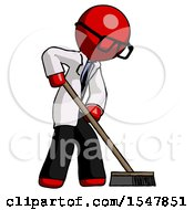 Red Doctor Scientist Man Cleaning Services Janitor Sweeping Side View