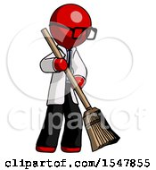 Red Doctor Scientist Man Sweeping Area With Broom