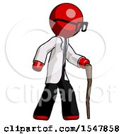 Red Doctor Scientist Man Walking With Hiking Stick