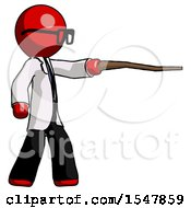 Red Doctor Scientist Man Pointing With Hiking Stick