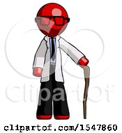 Red Doctor Scientist Man Standing With Hiking Stick