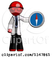 Red Doctor Scientist Man Holding A Large Compass