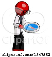 Red Doctor Scientist Man Looking At Large Compass Facing Right