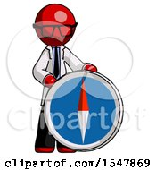 Red Doctor Scientist Man Standing Beside Large Compass
