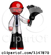 Red Doctor Scientist Man Holding Feather Duster Facing Forward