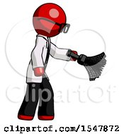 Red Doctor Scientist Man Dusting With Feather Duster Downwards