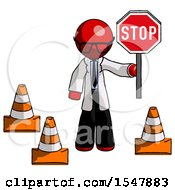 Red Doctor Scientist Man Holding Stop Sign By Traffic Cones Under Construction Concept