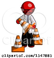 Red Doctor Scientist Man Holding A Traffic Cone
