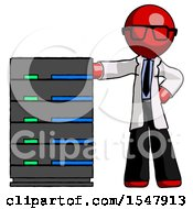 Red Doctor Scientist Man With Server Rack Leaning Confidently Against It