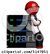 Red Doctor Scientist Man Resting Against Server Rack Viewed At Angle