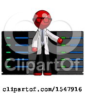 Red Doctor Scientist Man With Server Racks In Front Of Two Networked Systems