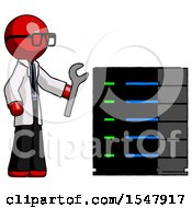Red Doctor Scientist Man Server Administrator Doing Repairs