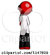 Red Doctor Scientist Man Thinking Wondering Or Pondering Rear View